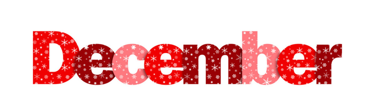 """""""DECEMBER"""" Vector Snowflake Letters Icon (red)"""
