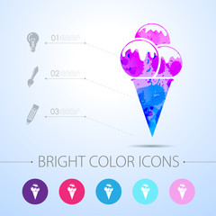Vector ice-cream icon. with infographic elements