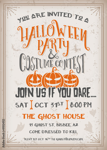 halloween party and costume contest invitation stock image and