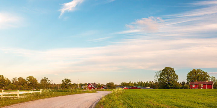 Panoramic image of old wooden farms in Smaland, Sweden