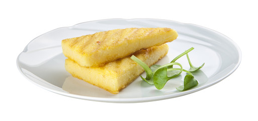 Fried corn starch on white plate