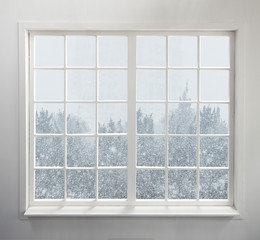 Modern residential window with snow and trees