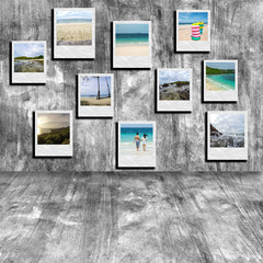 The collage seascape photo on cement background