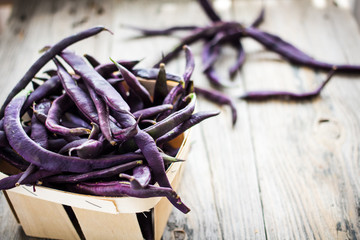 Purple Wax Beans on a gray background