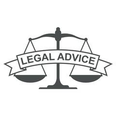 Icono plano cinta texto LEGAL ADVICE gris con bascula