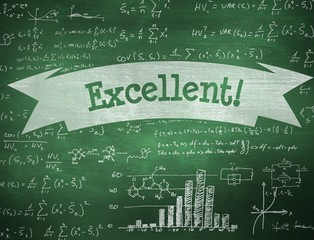 Excellent! against green chalkboard