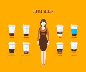 Coffee shop illustration design elements
