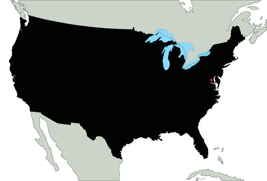 Highly Detailed United States of America Silhouette map.