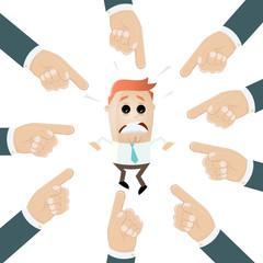 schuld business mann finger zeichen