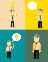 Young businessman thinking of his ideas. Set of flat design
