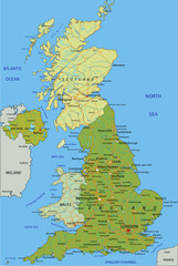 Highly detailed editable political map with separated layers. United Kingdom.