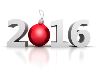 Happy New Year 2016 Numbers with Red Christmas Ball