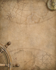 Fototapete - old nautical map with compass and steering wheel