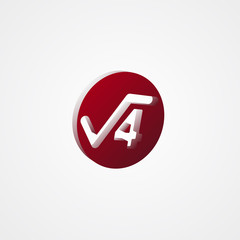 Square Root Red 3d  illustration
