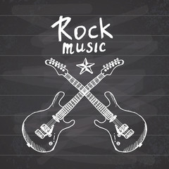 Rock Music Hand drawn sketch crosed guitars, vector illustration on chalkboard