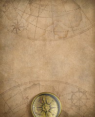 Fototapete - old nautical map with compass