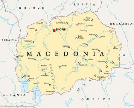 Macedonia political map with capital Skopje, national borders, important cities, rivers and lakes. English labeling and scaling. Illustration.