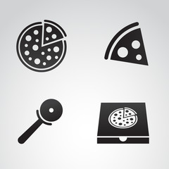Pizza icon set. Vector art.