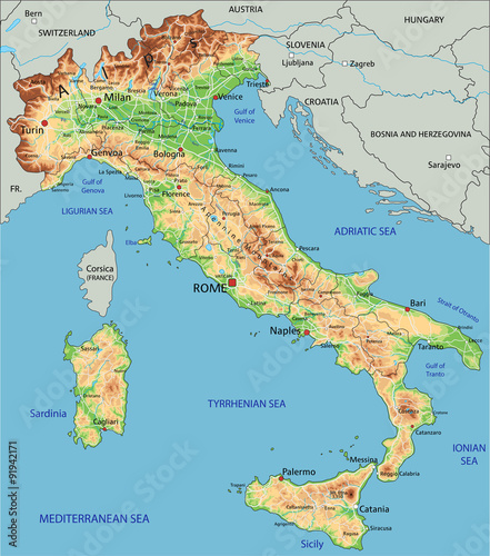 High Detailed Italy Physical Map With Labeling Stock Image And