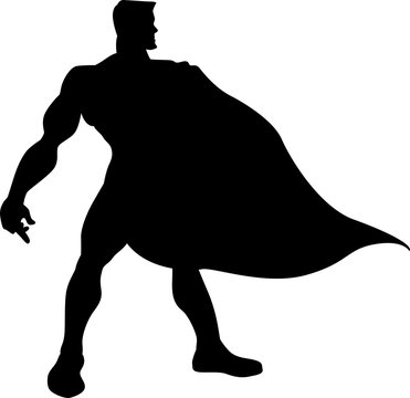 Hero with a cape silhouete