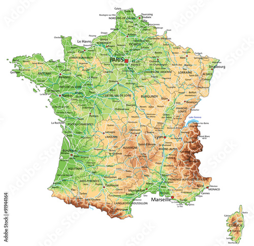 High detailed France physical map with labeling.\