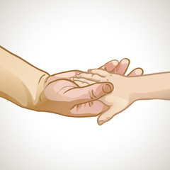 Сhildren's hand in the hand of an adult