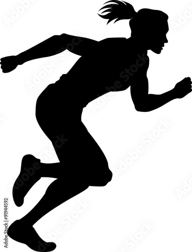 """Vector illustration of a woman track runner in silhouette ..."