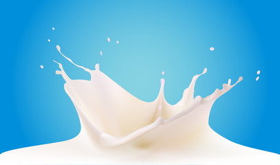 Pouring milk splash isolated on blue background