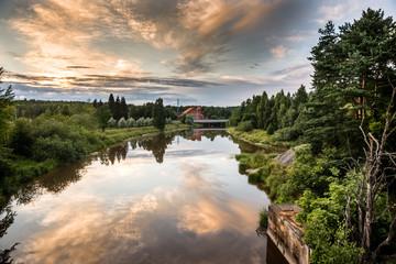 Sunset river lanscape in Helsinki