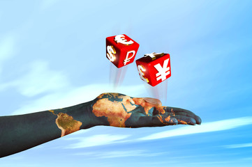 hand pulling dice with symbols of international currencies