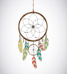 Dreamcatcher with feathers and Beaded Thread. Eethnic aztec, dra