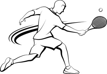 Black and white stylized illustration of a male tennis player executing a backhand volley.