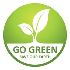 Go Green Save Our Earth Icon. Environmental conservation and protection of our world