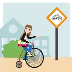 people on bicycle illustration over color background