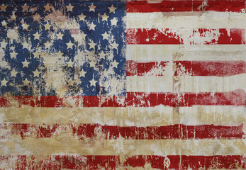 grungy american flag on weathered wall, fictional design