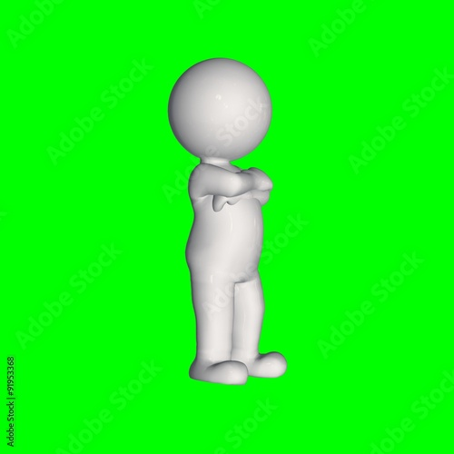 3D people - stand 3 - green screen