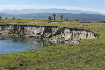 Bank erosion, pasture along Buffalo Fork River, Moran, Wyoming. Wall mural