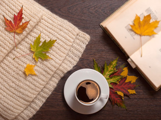 Autumn coffee and book