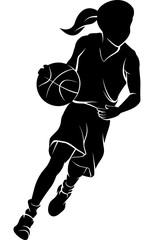 Silhouette of a girl dribbling a basketball