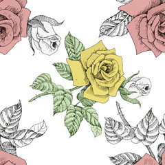 Watercolor seamless pattern with roses. Background for web pages