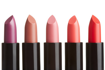 Lipstick collection isolated on white, clipping path