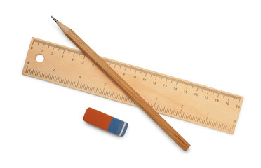 Ruler, pencil and eraser