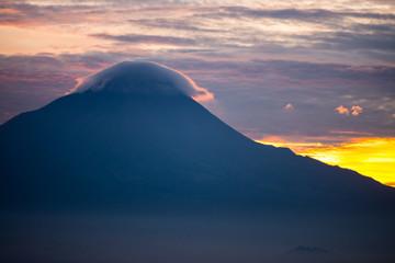 twilight blue golden sunrise cloud on top of mountain