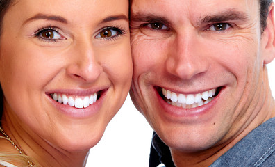 Couple with white teeth.
