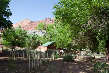 Garden and log cabin in Lonely Dell Ranch National Historic District at Lee's Ferry in Arizona