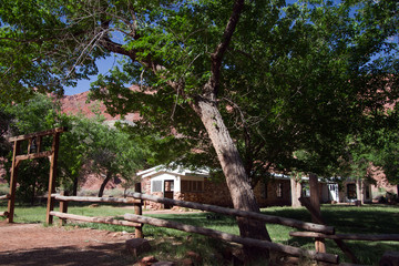 Main house and gate in Lonely Dell Ranch National Historic District at Lee's Ferry in Arizona