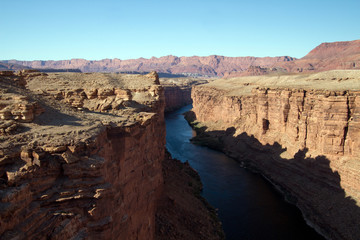 The Colorado River flows through Marble Canyon on its way to the Grand Canyon