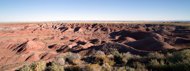 Panorama of Painted Desert National Monument in northeastern Arizona