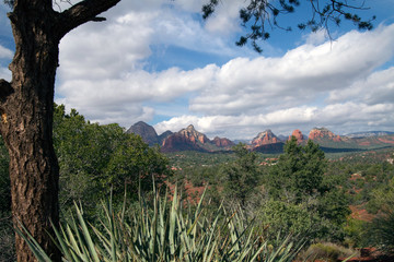 Long view of the red rocks of Sedona, Arizona, from Schnebly Hill Road