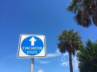 Hurricane Evacuation Route sign in Jacksonville Beach, Florida